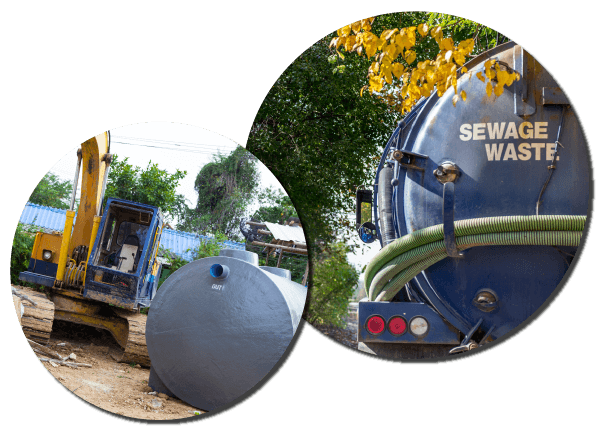 Sewage waste pumps with an excavating vehicle